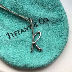 Tiffany & Co. initial k necklace by Elsa Peretti.
